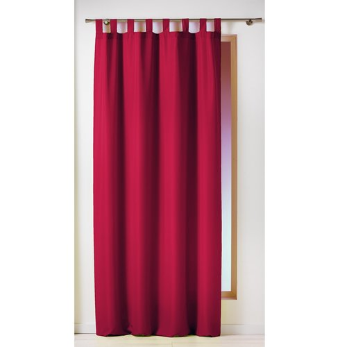 Ready made curtain with hanging loop 140x260cm uni polyester red