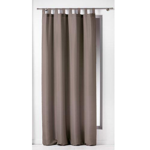 Spitze und klarer Vorhang mit Aufhängeöse 140x260cm Uni Polyester Taupe