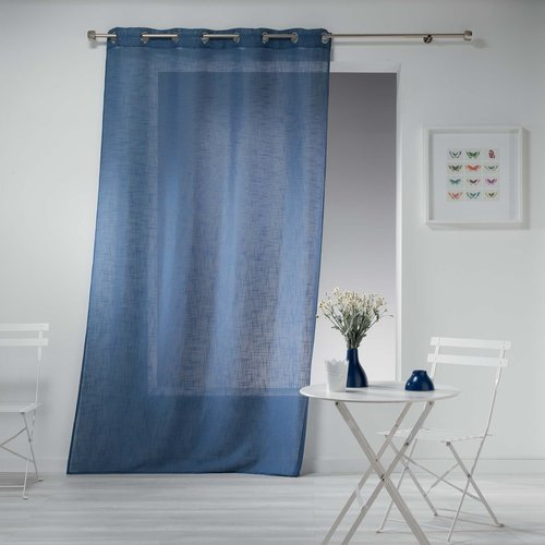 Ready made curtain with rings 140x240cm linen effect design polyester haltona blue