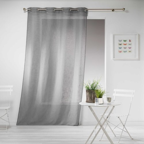 Ready made curtain with rings 140x240cm linen effect design polyester haltona gray