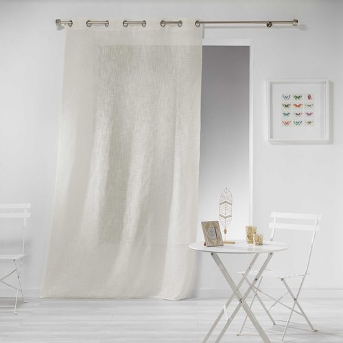 Ready made curtain with rings 140x240cm linen effect design polyester haltona natural