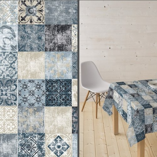 Coated Table textile Castillo blue gray