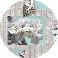 PVC Blossem brocante tablecloth around 160 cm