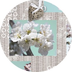 PVC Tafelkleed Blossem brocante rond 160 cm