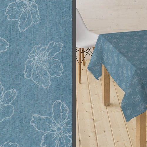 Coated Tablecloth Adalis blue