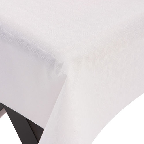 PVC Tafelzeil Damast wit