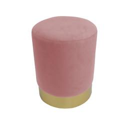 Poef velvet pastel roze