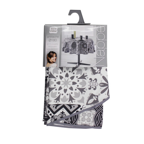 Tafellaken-Tafelkleed- Essentiel persane grijs rond 180 cm