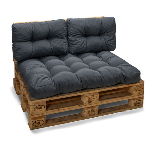 Pallet cushion Basic comfort back part half pallet length gray 60x40x10/20cm