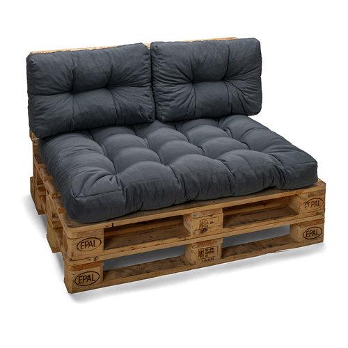 Palletkussen Basic comfort zitgedeelte grijs 120x80x15cm