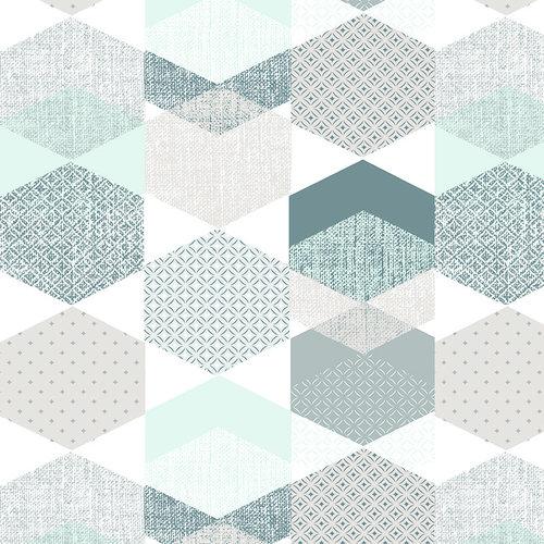PVC Wachstuch Polygone blauw