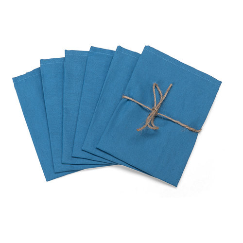 Servetten Dordogne poly/katoen 40x40cm blauw set van 6 stuks