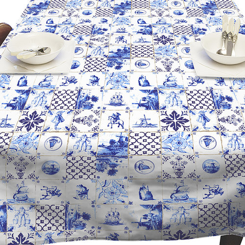 Tafellaken-Tafelkleed- Holland tegels 140x250 cm