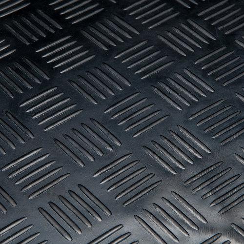 Rubber vloermat Traanplaat blok  zwart 3mm dikte op rol