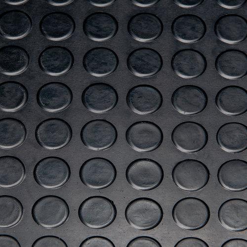 Deurmat-Rubber vloermat Noppen zwart 3mm dikte op rol