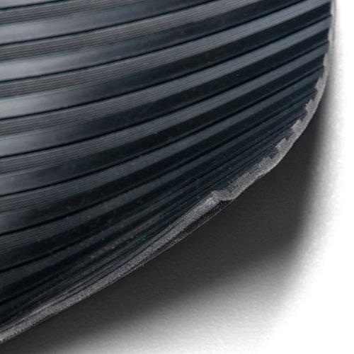 Deurmat-Rubber vloermat strepen zwart 3mm dikte op rol