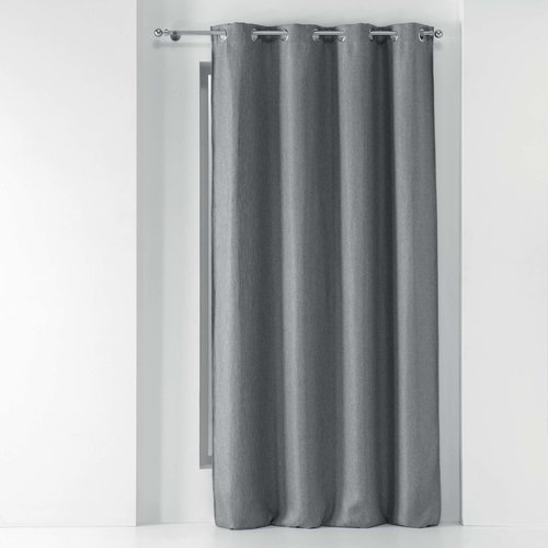 Wicotex Ready made curtain Tramina with rings woven gray obscuring 135x240cm