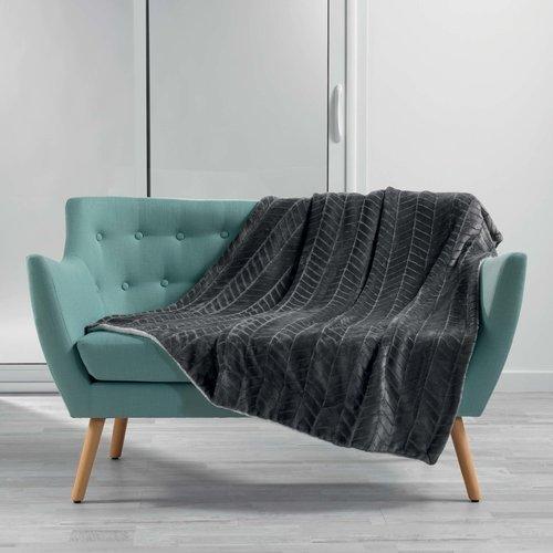 Wicotex Plaid flannel/sherpa 125x150cm Zema grau polyester