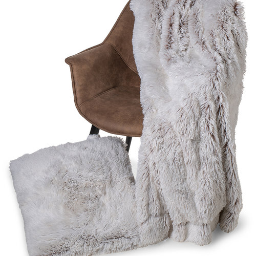 Wicotex Trow pillow mock fur Snow 50x50cm white brown polyester high pole