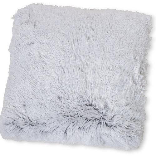 Wicotex Trow pillow mock fur Snow 50x50cm white gray polyester high pole