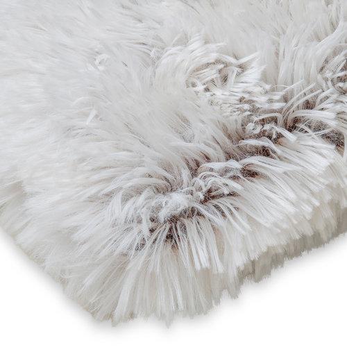 Wicotex Plaid mock fur Snow 150x200cm weib brown polyester high pole