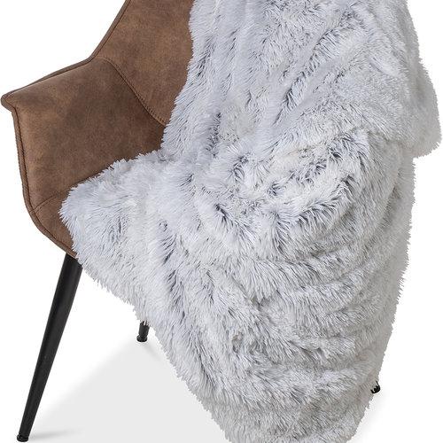 Wicotex Plaid mock fur Snow 150x200cm white gray polyester high pole