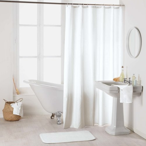 Shower curtain textile uni white
