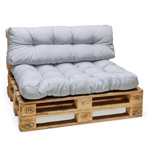 Palletkussen Basic comfort rugdeel licht grijs 120x40x10/20cm