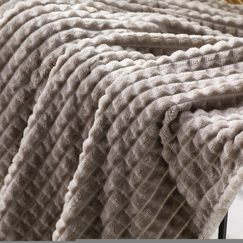 Wicotex Plaid jacquard flannel Quincy taupe 180x220cm polyester