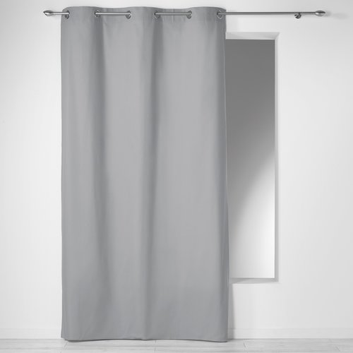 Ready made curtain with rings 140x240cm Panama 100% cotton color gray.