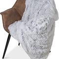 Wicotex Plaid kunstfell Snow 150x200cm weib grau Polyester hohe Stange
