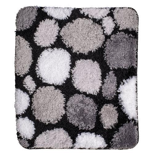 Badematte schwarz-grau-weiße Steine 60x90cm