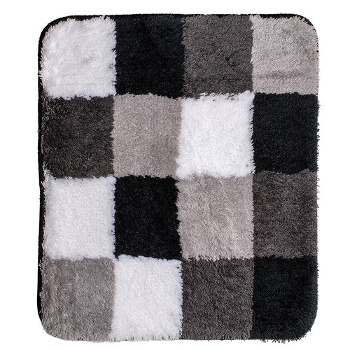 Badematte 60-35 schwarz-grau-weiß-kariert 60x90cm