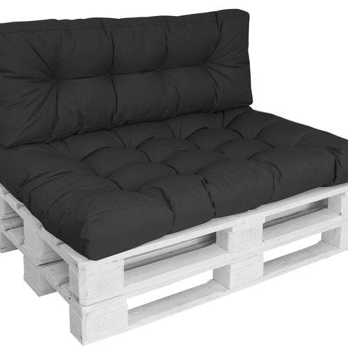 Pallet cushion Basic comfort Water-repellent seat area black 120x80x15cm