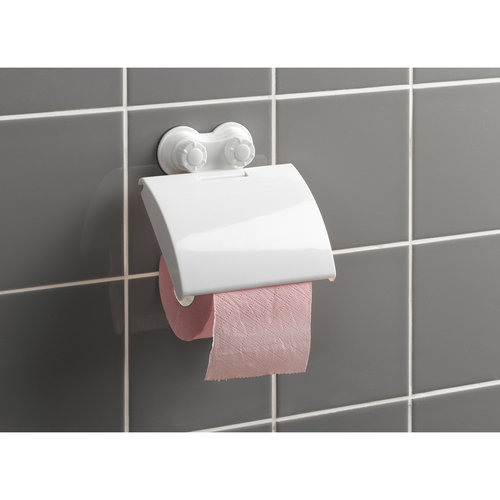 Toilet roll holder plastic with 2 suction cups white