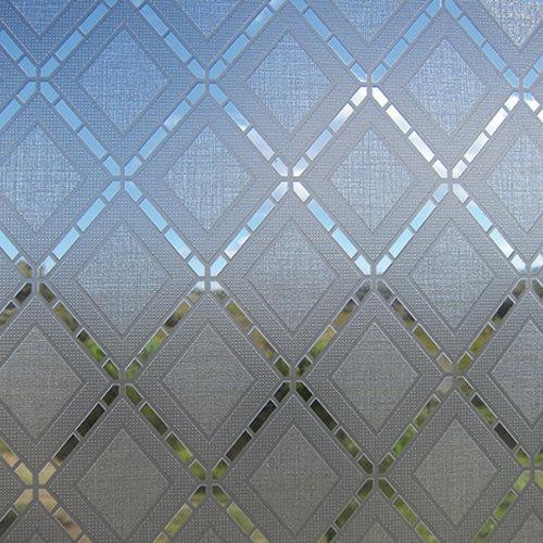 Fensterfolie statisch gegen Betrachtung Textil Rhombus grau 46cm x 20m