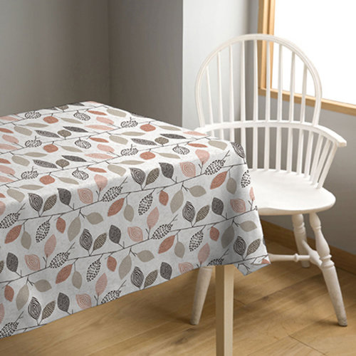 PVC oilcloth  branches red