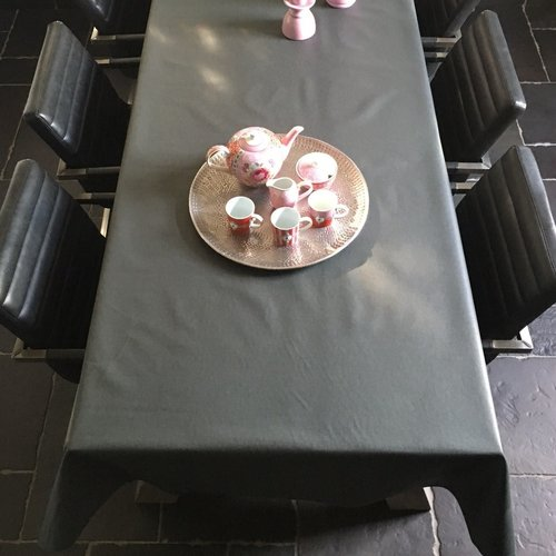 Gecoat tafellinnen - antraciet