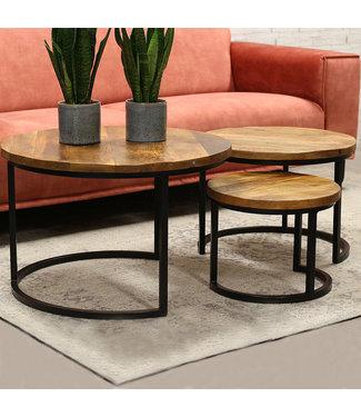 Table Basse Industrielle  Caleb Set  Noir Premium