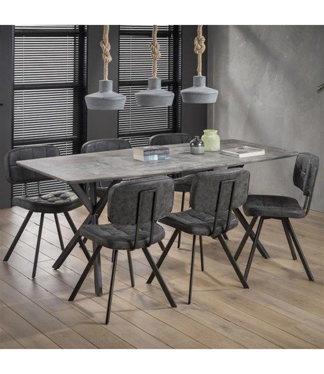Table salle a manger Industriel ovale X 3D aspect béton 190 cm