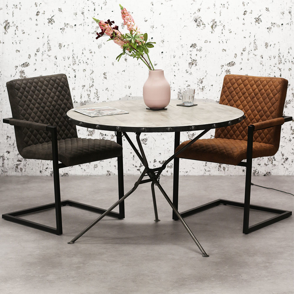 Table À Manger Industrielle table salle a manger industriel dundee Ø100 | dimehouse