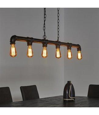 Hanglamp Industrieel zwart  6 lichts