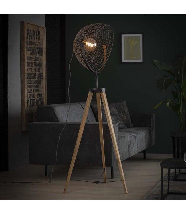 Industriële houten vloerlamp  met draadkap Duen