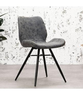 Dimehouse Chaise de salle à manger Industrielle Hetson vintage bleue