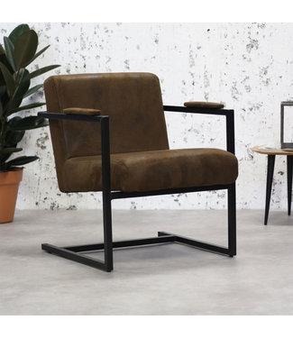 Dimehouse Fauteuil Industriel tissu brun Holden