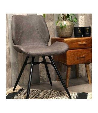 Dimehouse Chaise de salle à manger Industrielle Hetson Premium  brune