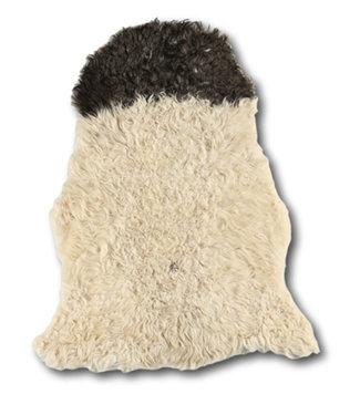 Dimehouse Peau de Mouton cheveux bouclés noir-blanc 100x70 cm