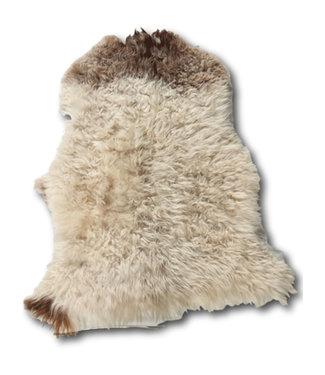 Dimehouse Peau de Mouton cheveux bouclés brun-blanc 100x70 cm