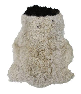 Dimehouse Peau de Mouton cheveux longs bouclés noir-blanc 100x70 cm