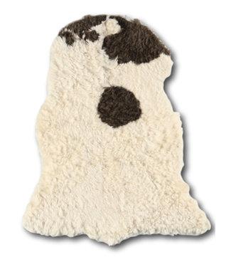 Dimehouse Peau de Mouton cheveux longs bouclés brun-blanc 100x70 cm
